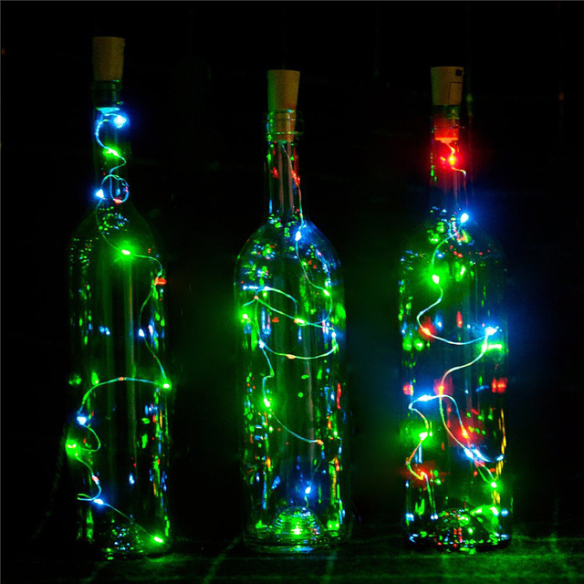 10pcs Lot Battery Operated 2m 20 Led Cork Shape Wine Bottle String Lights For Diy Christmas Wedding Party
