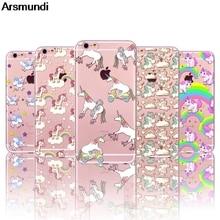 Arsmundi 2018 новый милый Единорог Телефонные чехлы для iphone 4S 5C 5S 6 6 S 7 8 Plus x Crystal Case ясно Мягкие TPU крышка Чехол