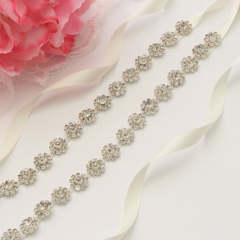 MissRDress Thin Diamond Wedding Belt Rhinestones Flower Bridal Belt Ribbon Crystal Bridal Sash For Wedding Prom Gown JK948