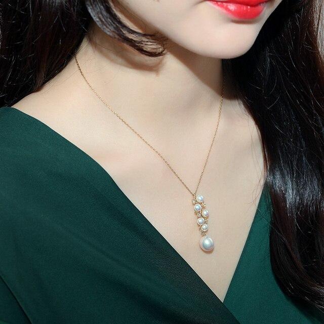 [YS] 925 Sterling Zilveren 5-10mm Witte Parel Ketting Chinese Zoetwaterparels Ketting Sieraden