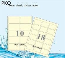 50 ピース/ロット防水ペットラベル透明自己粘着ステッカーラベル A4 印刷郵送ラベルレーザープリンター用
