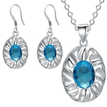 925 plated jewelry set Aquamarine Necklace Earrings katami wholesale trade