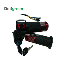 ФОТО handlebard with lock with  lithium lead acid battery voltage digital display 24V36V48Ve bicycle and scooters handel 1pair