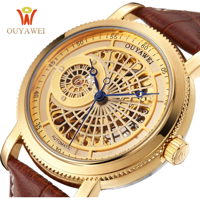 цена на OUYAWEI Top Brand Luxury Business Mechanical Watches Men Skeleton Black Brown Leather Strap Mens Gold Watch Automatic Wristwatch