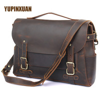 YUPINXUAN High Quality Crazy Horse Leather Briefcase Men 14 Laptop Brief Cases Vintage Male Handbag Russia