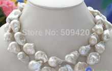 "~~ Free Shipping >>Huge 34"" 28mm white baroque KESHI REBORN PEARL NECKLACE(China)"