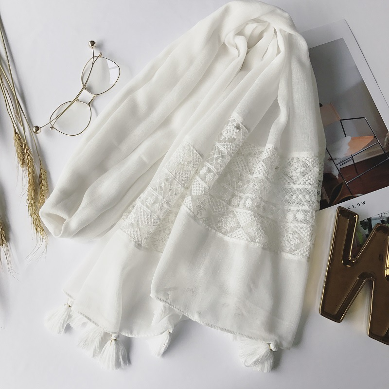 Hot Sale Women White Color Lace Hijab Tassel Design Plain Maxi Shawl Fashion Scarf White