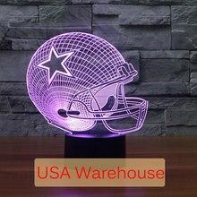 Dallas Cowboys NFL 3D Leve Toque CONDUZIU a Lâmpada de 7 Cores 3D dormir NightLight luz LED Lampara USB Acrílico 3D 3D Crianças Noite luz