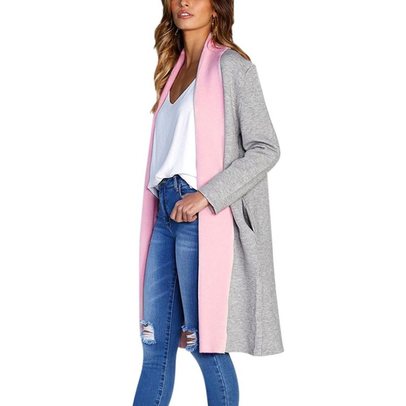 2018 Fashion Pockets Autumn Winter Casual Coat Long Sleeved Long Woolen Coat Oversize Candy Color Outwear Wool Coat