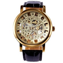 Luxury Retro Gold Skeleton Roman Dial Stainless Steel Relogio Leather Strap Hand-Winding Mechanical Men Casual Watch / PMW217