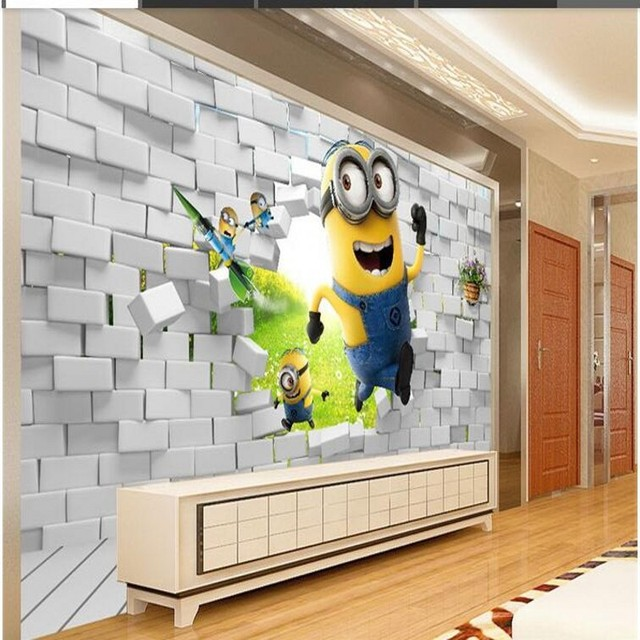 Living Room With Tv And People beibehang 3d creative small yellow people wallpaper background