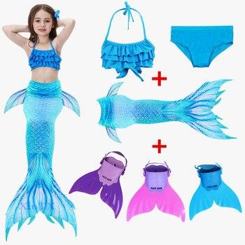 6ebf4a6df La cola de sirena con Fin traje de los niños de traje de baño de Bikini de  sirena de las niñas cola con monoaleta aletas traje de baño