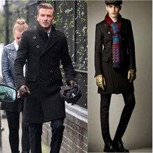 Горячая мода длинный Тренч Бекхэм мужские двубортные зимние куртки Мужская шерстяная двубортная куртка мужская куртка из шерсти