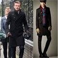Caliente de la manera gabardina larga Beckham hombres de pecho doble chaquetas de invierno para hombre de lana doble de pecho abrigos hombres chaqueta de lana