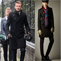 Hot moda Beckham homens double breasted longo trench coat casacos de inverno casacos de lã dos homens double breasted casaco de lã homens