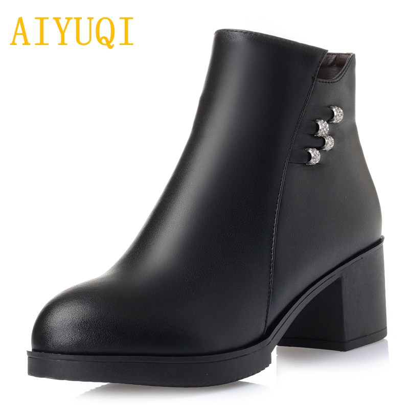 2018 new autumn/winter genuine leather short boots for women, warm trend for women dress boots, plus size 35-43 boots women chic plus size scoop collar short sleeve cat and letter print dress for women