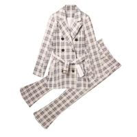 Fashion plaid small suit suit female autumn and winter New high end casual temperament suit two piece trousers suit women