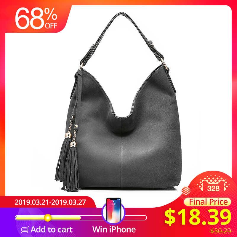 b0ee5e6d886c REALER Дизайнерская большая сумка женская через плечо с кисточкой, модная  сумочка для женщин, дамская