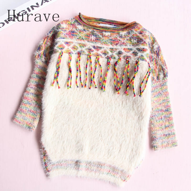 Hurave new arrival girls tassel sweater children fashion kids clothing brand England style toddler clothes hurave winter sport suits children clothing girls set kids clothes brand girls clothing toddler 2 pcs jacket pant