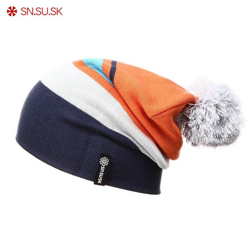 ec7a7c3736cb1 SN. su. sk invierno gorros patinaje esquí de snowboard de invierno skullies  gorros sombrero para hombre mujer tejer gorrita Bonnet chapeu