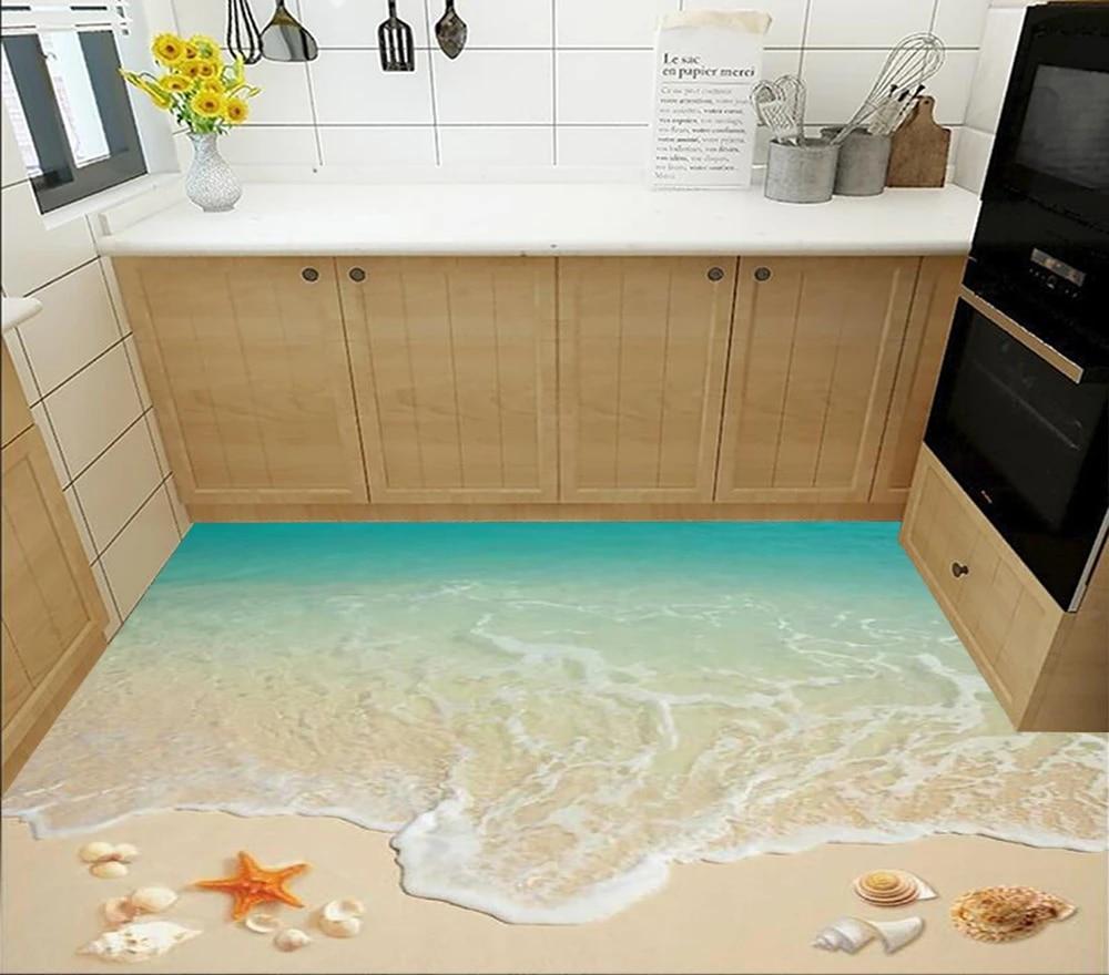 Floor wallpaper 9D Surf beach living room bathroom kitchen floor tile  picture