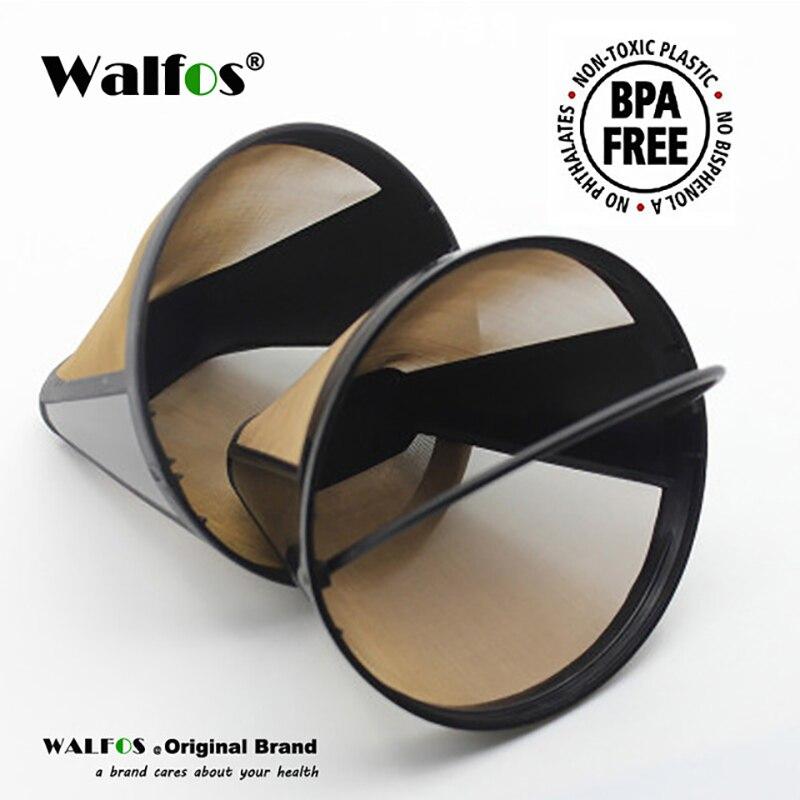 WALFOS конусная форма постоянный фильтр для кофе 10-12 чашек моющийся многоразовый фильтр для кофе сетка с ручкой кафе Кофеварка машина