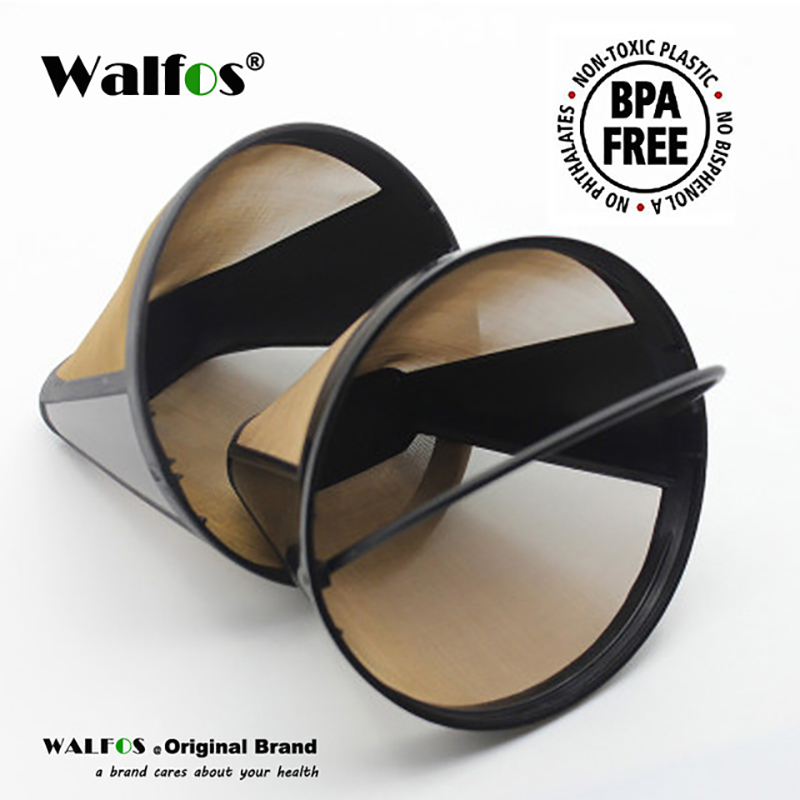 WALFOS  Cone Shape Permanent Coffee Filter 10-12 Cup Washable Reusable Coffee Filter Mesh With Handle Cafe Coffee Maker Machine