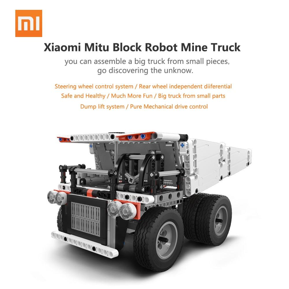 2018 New Xiaomi Mitu Block Robot Mine Truck For Children Steering Wheel Control Dump Lift Smart Remote Control
