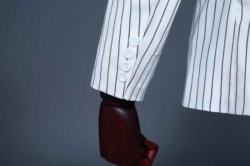 Pyjtrlブランドメンズツーピースセットホワイトストライプドレス用ウェディングスーツスーツ男性タキシード優しい現代ブレザー男性スーツ