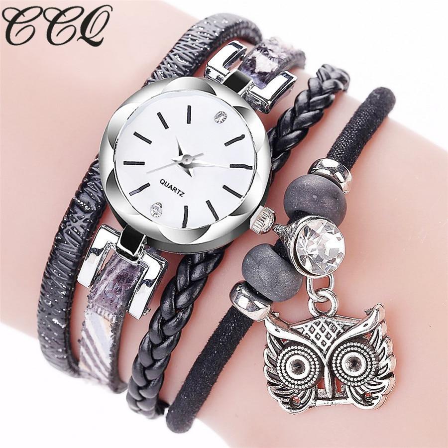 CCQ Brand Handmade Ladies Leather Bracelet Owl Wristwatch Luxury Silver Dress Clock Women Fashion Quartz Watch Relogio Feminino