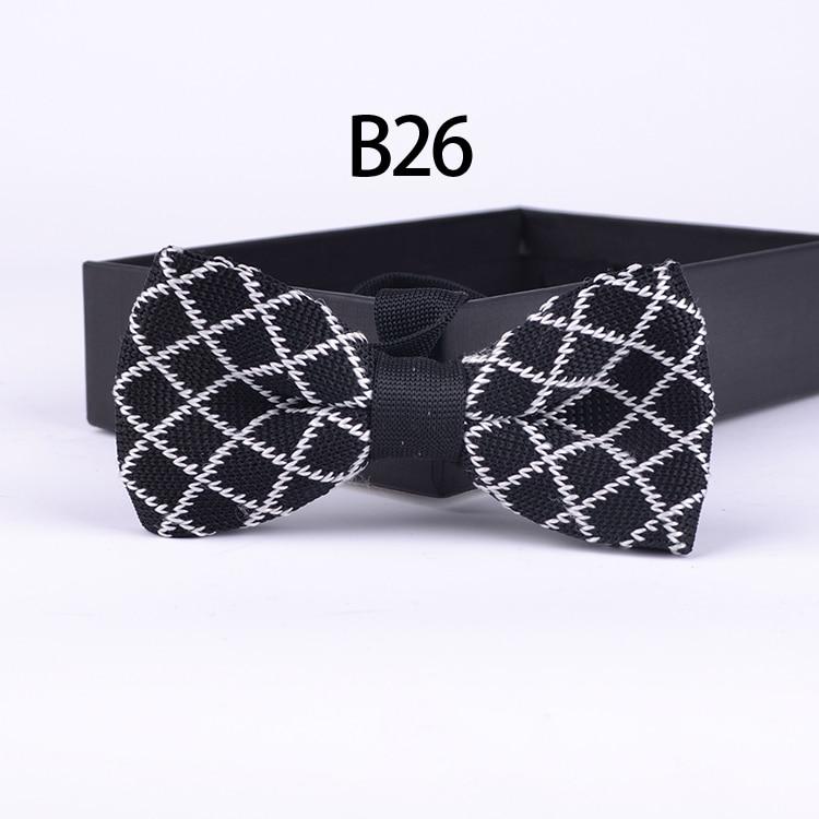 Top moda tricotată papion elegant alb minunat cu negru carouri - Accesorii pentru haine
