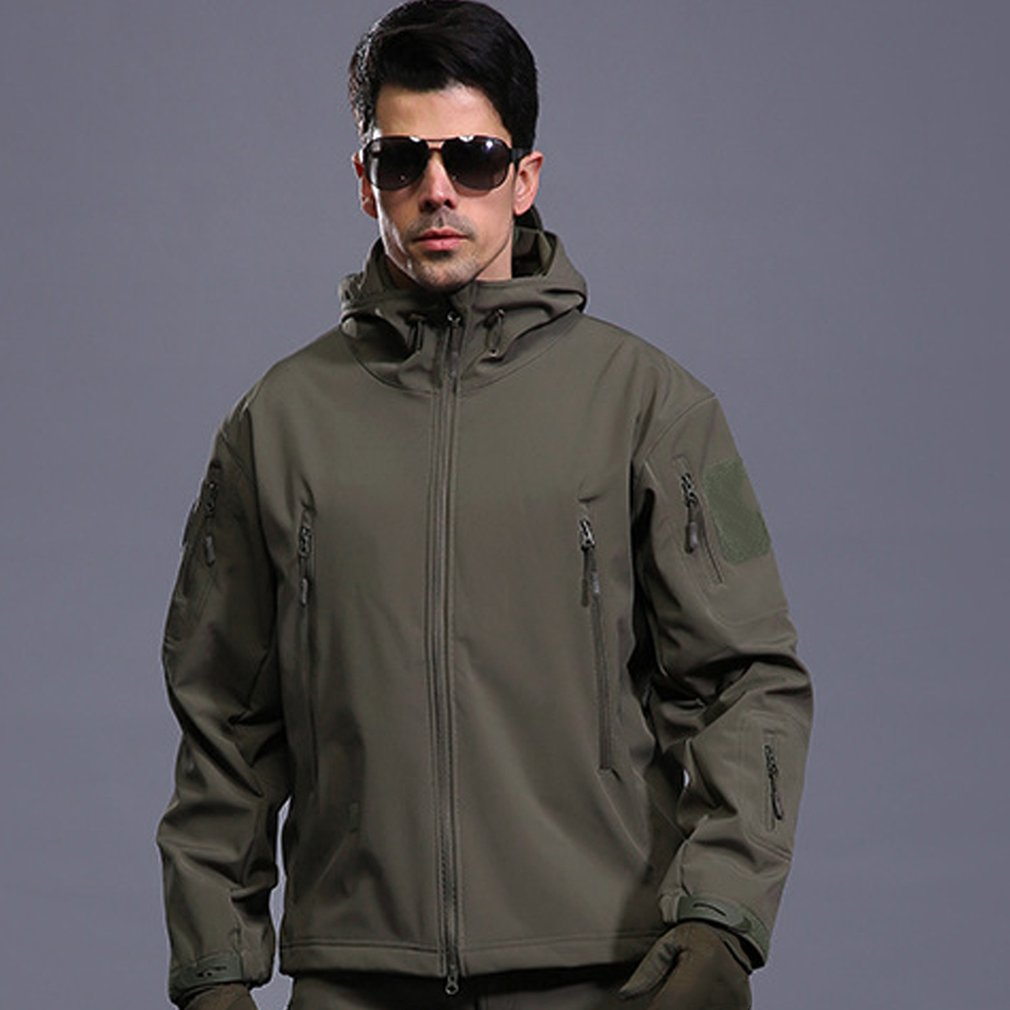 Breathable Men Outdoor Military Tactical Jacket Waterproof Windproof Keep Warm Long Sleeve Hooded Warm Outwear Coat Hunting Hike