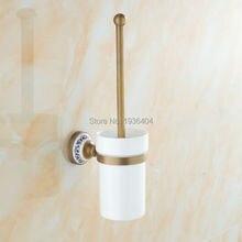 Античная латунь готовые ванной комнаты туалет щеткодержатель с фарфор устанавливается с керамической обладатель кубка TH503