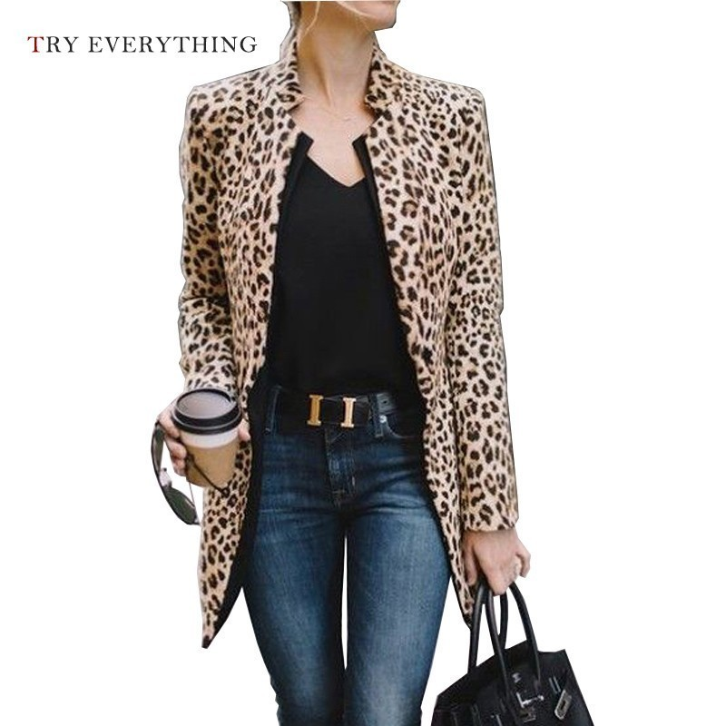 Leopard Blazer Women Long Ladies Blazers And Jackets Womens Blazers Long Sleeve American Woman Blazer 2019 Casual Female Coat in Blazers from Women 39 s Clothing