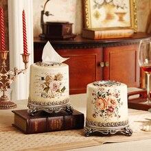 Europäischen Vintage Harz Serviette Rollen Papierhalter Erweiterte Tissue Box Cover Für Bar Home Hotel Hochzeit Dekoration