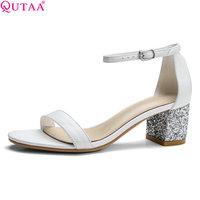 QUTAA 2017 Women Sandals Square Med Heel Vintage Platform Women Shoe Ankle Strap Genuine Leather Ladies