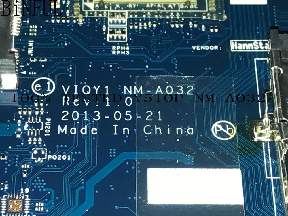 BiNFUL 100% HIGH QUALITY,  VIQY1 NM-A032 REV : 1.0  FOR LENOVO Y510P LAPTOP MOTHERBOARD, ON BOARD  GT755 /GT750 2GB (tested ok)