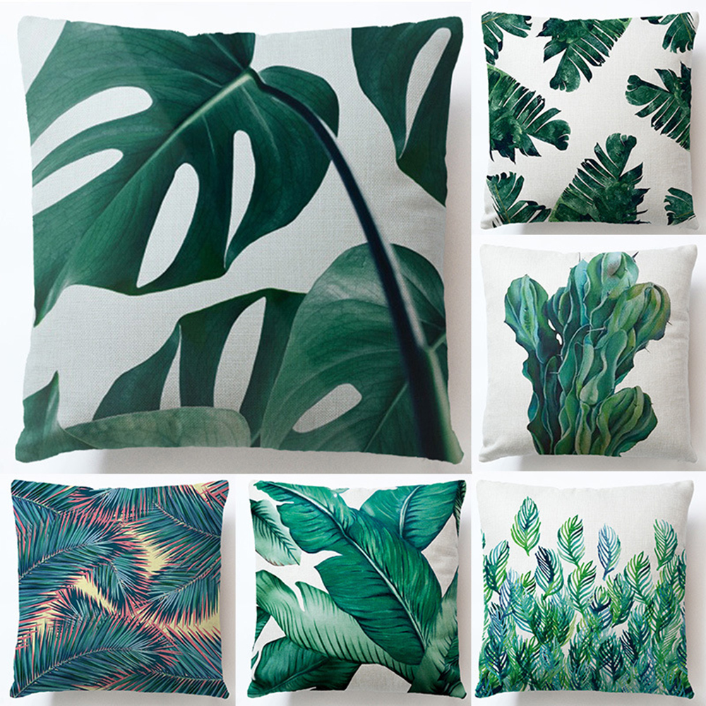 Cushions Covers Linen Africa Tropical Plant Printed Throw Pillow Covers Home Decor Pillowcases for Sofa Couch Bedroom 45x45cm