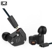 New KZ ZS6 2DD + 2BA Híbrido HIFI Fone De Ouvido Com Fio Esporte fone de ouvido Estéreo de Música em fones de Ouvido Fone de Ouvido com Microfone Pro Metal Fones de Ouvido para Telefone Inteligente