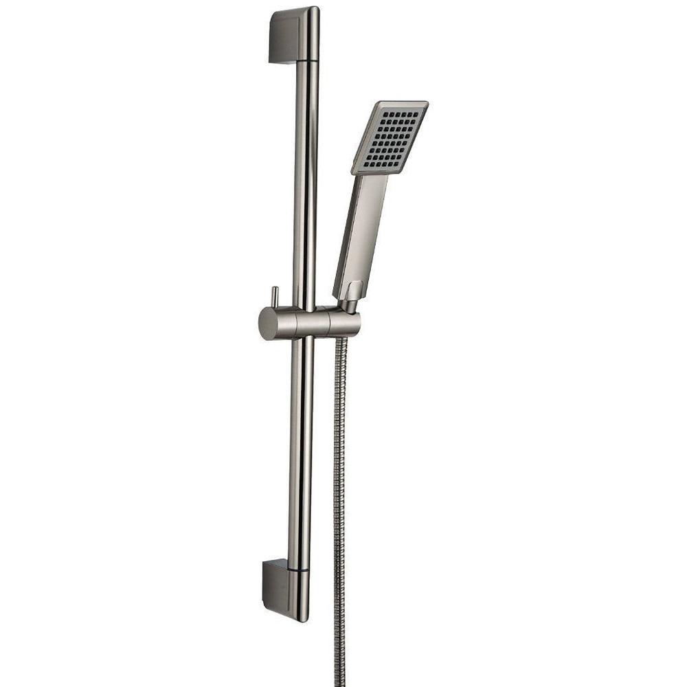 Stainless Steel & Shower Riser Rail Sliding Bar & Handheld Shower Head, All Brushed Nickel 15-010