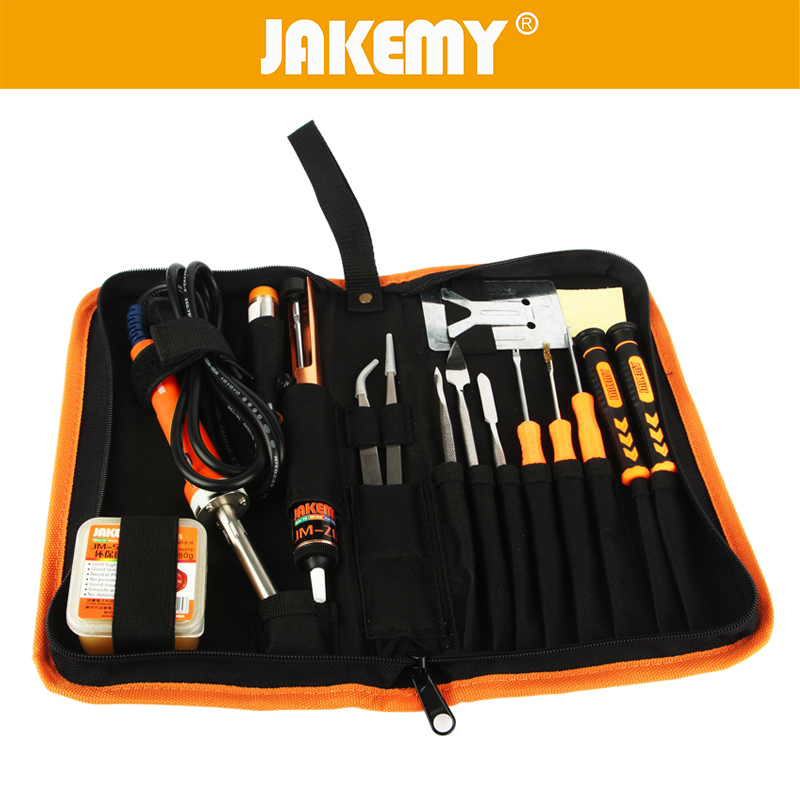 ФОТО JAKEMY 17 in 1 Electric Soldering Iron Set 30W 220V DIY Solder Kits With Iron Stand Soldering Sucker Paste Welding Tools
