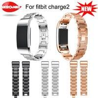 HOT NEW acier Inoxydable avec diamant conception poignet bandes pour fitbit charge 2 bande bracelet montre banda ceinture adapte pour 135-245mm