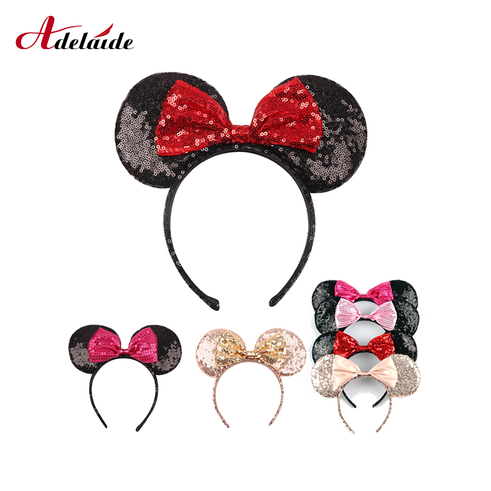 Us 1 35 32 Off Headwear Minnie Mouse Ears Headband Festival Diy Hair Accessories Hairband Christmas Sequin Hair Bows For Girls Women Gift In