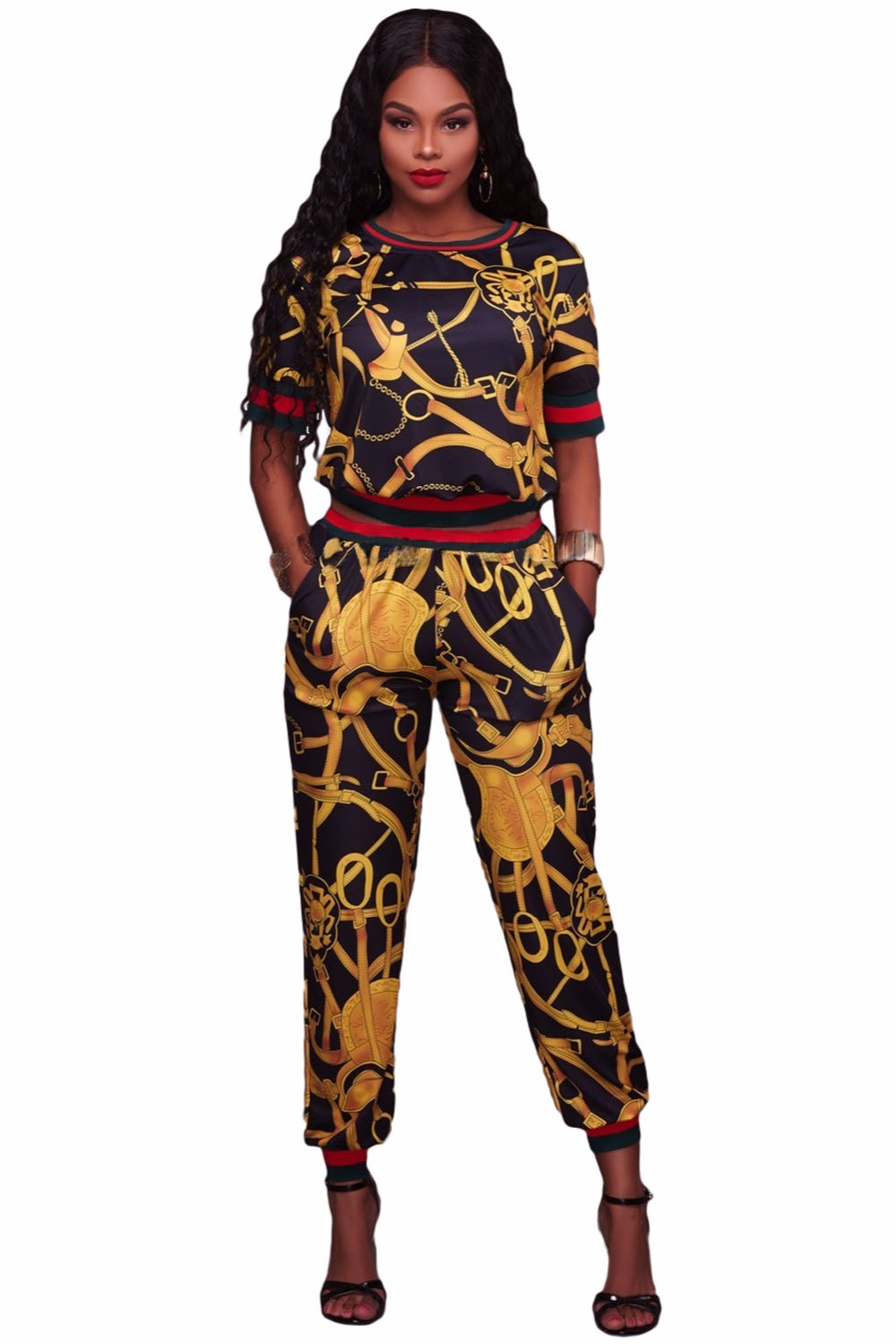 2017 New Style Overoles Women Tracksuits Set Vintage Streetwear Two Piece Multiple Print Short Sleeve Top with Pant Set LC62071