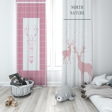Nordic fashion pink elk curtain High shading polyester living room window custom made ring top girl bedroom