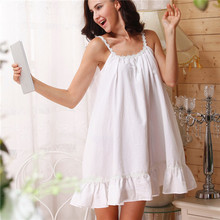 2017 sleep lounge women sleepwear cotton nightgowns sexy indoor clothing home dress white pink chemise nightdress #p2