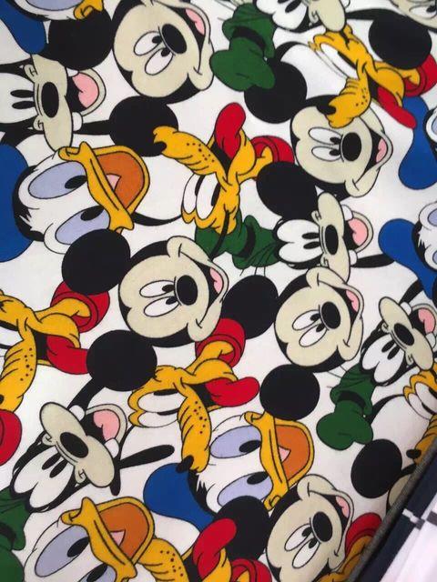 50170cm Cartoon Mickey Goofy Donald Duck Flannel Knitting Cotton Fabric For Sewing Diy Boy
