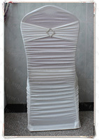 Ivory Color Ruffle Lycra Chair Covers With Lycra Band And Rhombic Diamond Buckle Pin For Wedding
