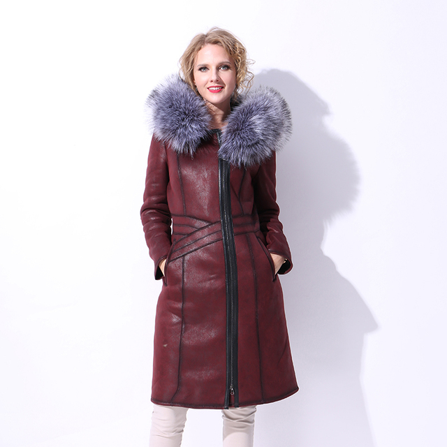 Factory direct supply winter new Faux fur coat women silver russian fur coats long 6XL furry synthetic fox fur suede red massimo