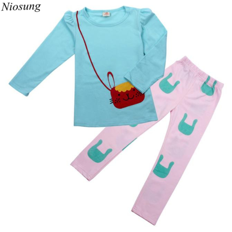 Niosung New Kids Baby Girl Long Sleeve Cartoon Cat O-Neck Shirt + Pant Trousers Suit kids Children Clothing Suit v